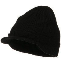 Beanie Visored - Big Knit Ribbed Beanie Visor