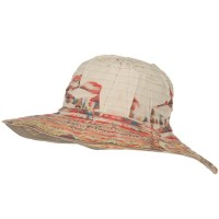 Dressy - Ribbon Brim Indian Print Hat