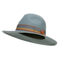 Western - Striped Ribbon Band Wool Felt Hat