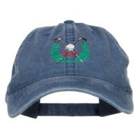 Embroidered Cap - Golf Club Ball Crest Washed Cap