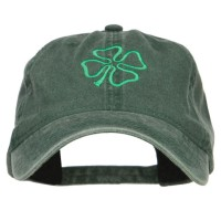 Embroidered Cap - Irish Four Leaf Clover Washed Cap | Free Shipping | e4Hats.com