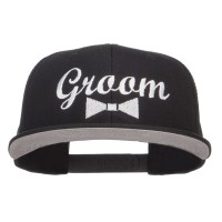 Embroidered Cap - Groom Bow Tie Snapback Cap
