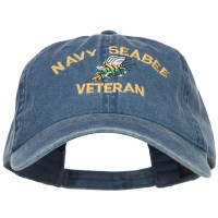 Embroidered Cap - Navy Seabee Veteran Washed Cap | Free Shipping | e4Hats.com