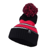 Beanie - Two Tone Striped Knit Pom Beanie