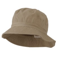 Bucket - Khaki Cotton Bucket Hats Plaid Trim
