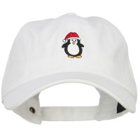 Embroidered Cap - Penguin with Santa Hat Cap