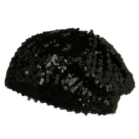 Beret - White Sequin Knitted Beret