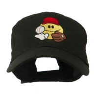 Embroidered Cap - Baseball Smiley Glove,Ball Embroidered Cap