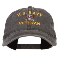 Embroidered Cap - US Navy Veteran Washed Cap