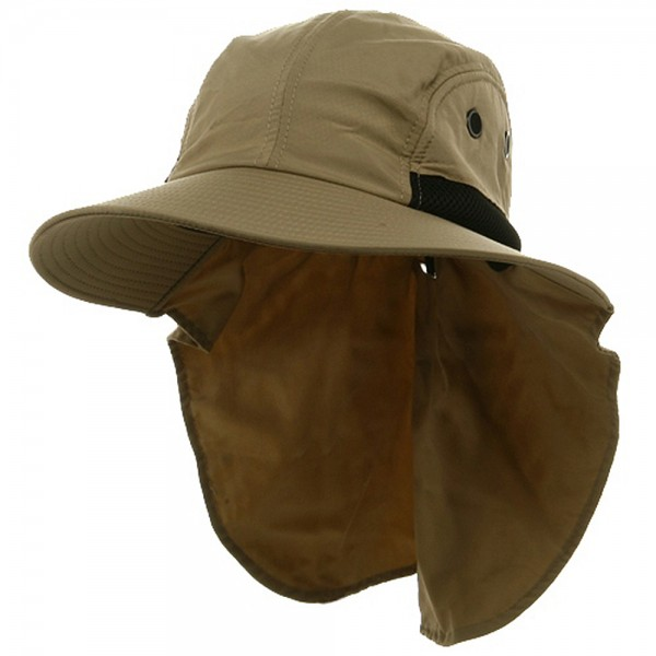 Flap Cap - Khaki UV 4 Panel Large Bill Flap Hat  152edde12eb