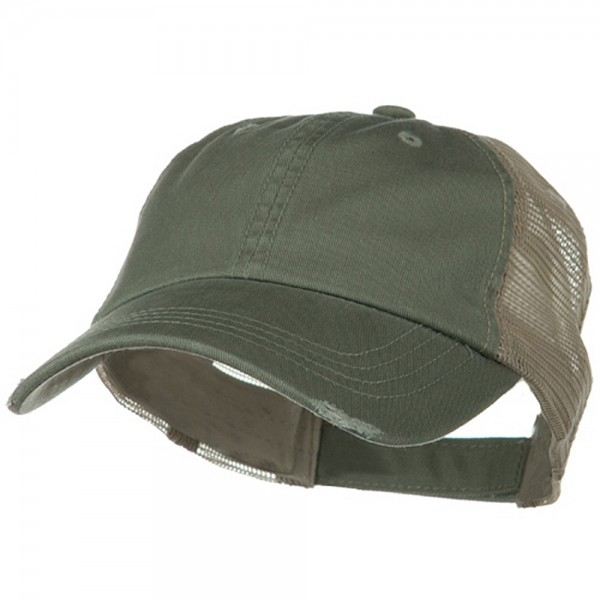 Ball Cap - Olive Khaki Washed Organic Cotton Mesh Cap    e4Hats e4d89edfc1c