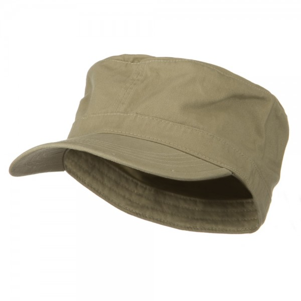 Big Size Cotton Fitted Military Cap - Khaki f07bca4c938