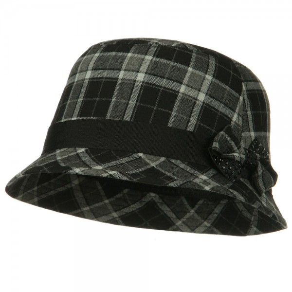 afd2547e97b Plaid Wool Felt Cloche Hat with Bow Tie - Black ...