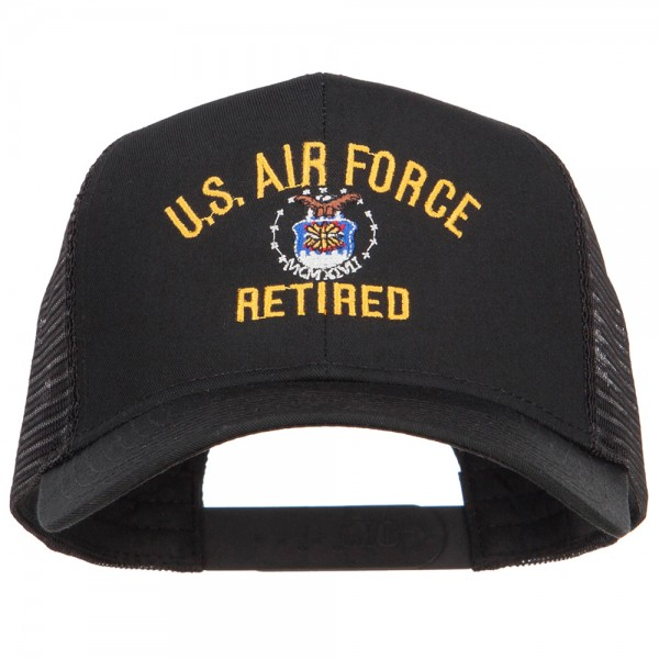 77b941544 US Air Force Retired Military Embroidered Mesh Cap - Black