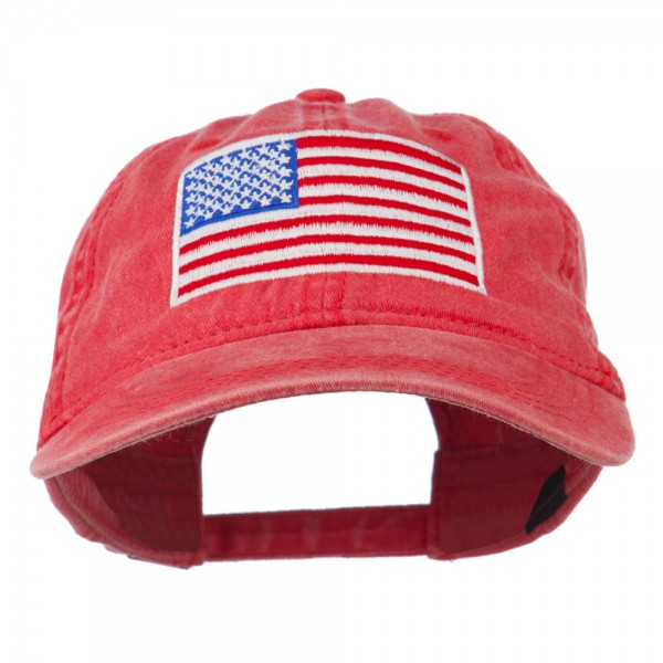 Embroidered Cap - Olive Green American Flag Washed Cap  509f29c7a3b
