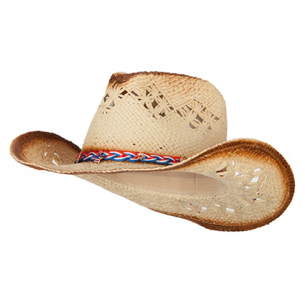 769a01db3d46b0 Patriotic Cowboy Hat with Braid Strap and Americana Charms - Natural