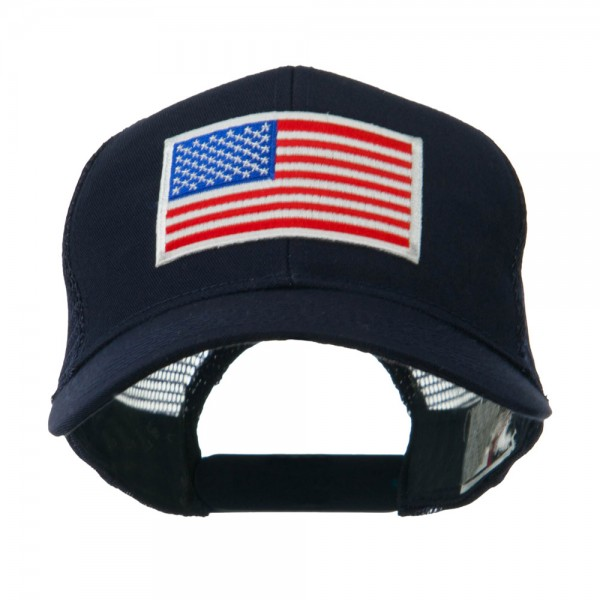 Embroidered Cap - Navy American Flag White Patch Cap    e4Hats 95176e54b86