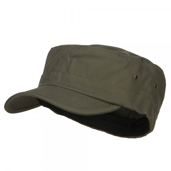 Cadet - Olive Big Size Fitted Trendy Army Style Cap  7ed5975d82b