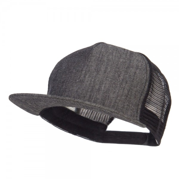 4f6b1b9a489 Ball Cap - Denim Black Flat Bill Snapback Trucker Cap