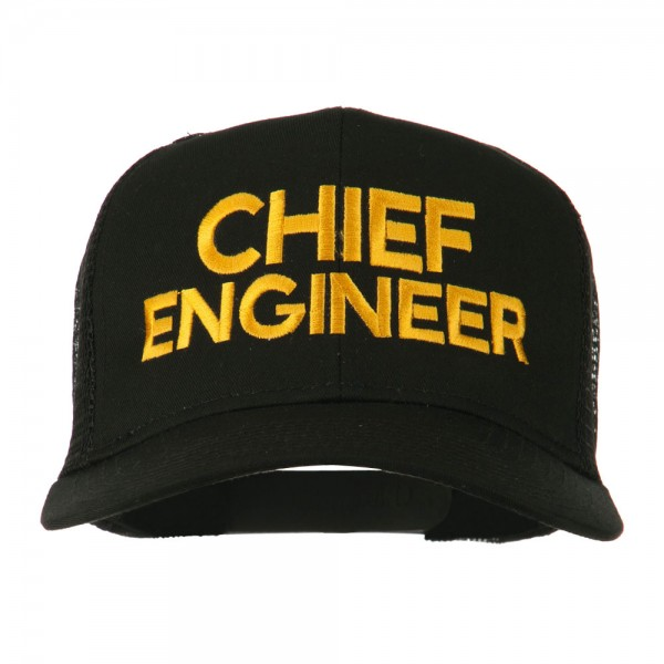 1aedb608b29 Chief Engineer Embroidered Twill Mesh Cap - Black