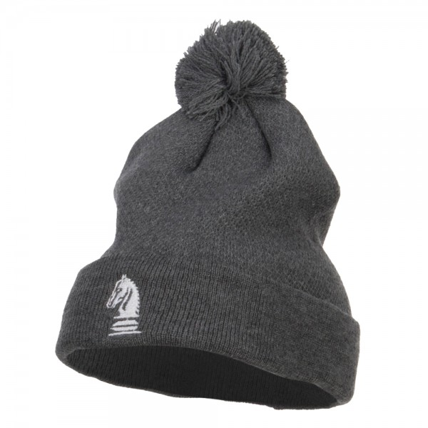 1a2ec1501ea ... buffalo check mens mens 708912 ice 84fe3 95ae7  wholesale chess piece  knight embroidered pom beanie dk grey 0a147 02b97