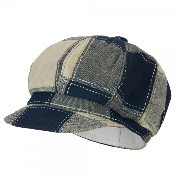 a171d7d5e951 Newsboy - Navy Cotton Patch Work Newsboy Cap | Coupon Free | e4Hats.com