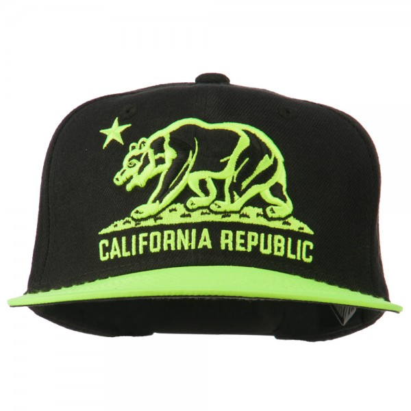Embroidered Cap - Black Neon Green Cali Bear Two Tone Snapback ... 01028f08a5ef