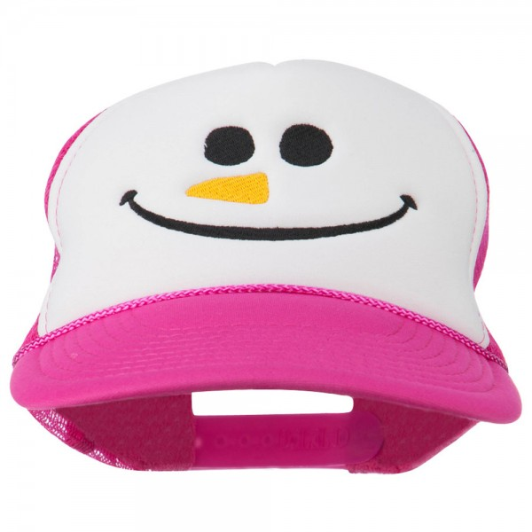 28ef52c17ad Embroidered Cap - Hot Pink White Snowman Smile Embroidered Cap    e4Hats