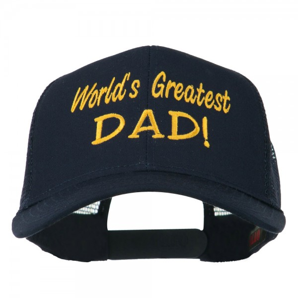 83dbb11a2 World's Greatest Dad Embroidered Mesh Back Cap - Navy