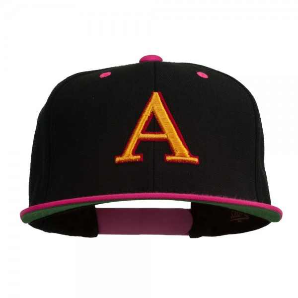 d454bf53f 3D Puff Letter A Embroidered Snapback Cap - Black Pink