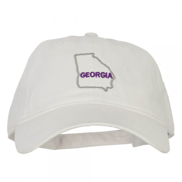 4fe0aa624fa  20.49 Georgia with Map Outline Embroidered Washed Cotton Twill Cap - White   20.49 ...