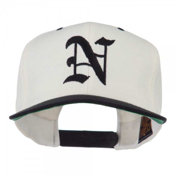 Embroidered Cap - Natural Black Old English N Flat Bill Cap  7263890ad7ab
