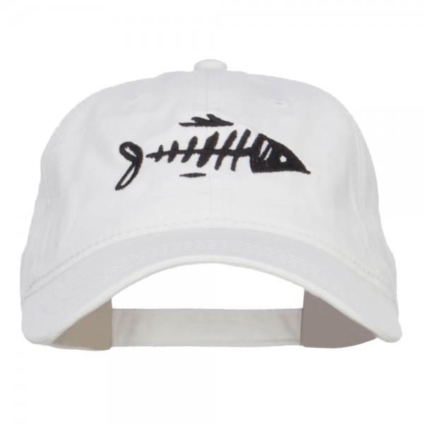 dcfce300537 Embroidered Cap - White Fish Bone Embroidered Washed Cap
