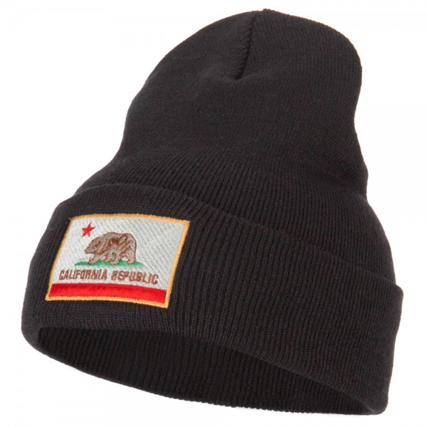 dc3af14476e California State Flag Embroidered Long Knitted Beanie - Black
