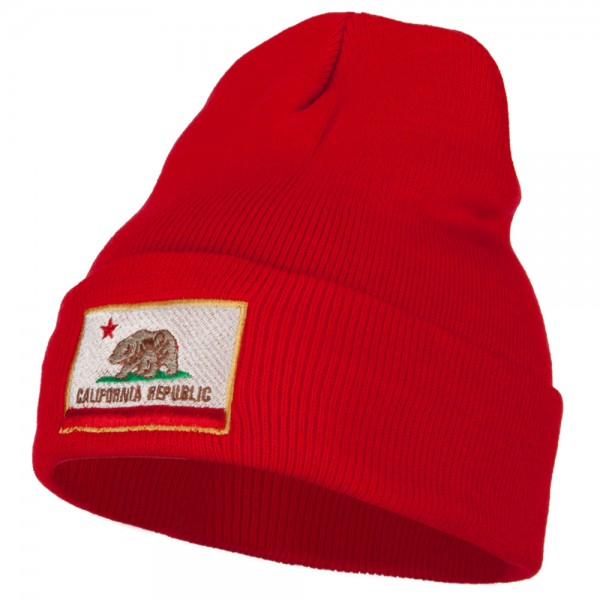 308da5dc011  21.99 California State Flag Embroidered Long Knitted Beanie - Red  21.99