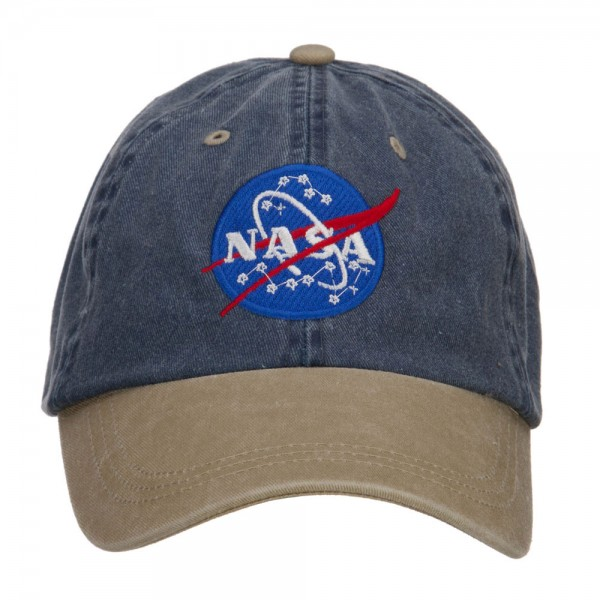 08c15bcb607e4 Embroidered Cap - Navy Khaki NASA Embroidered Washed Cap