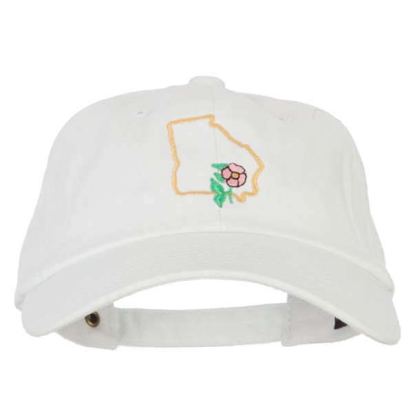 b5e4b41e916 Embroidered Cap - White Georgia State Flower with Map Cap