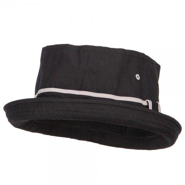 a1152d84a6f Bucket - Black Grey Big Size Striped Fisherman Bucket Hat