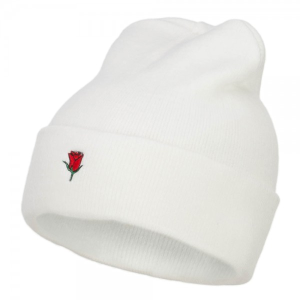 d1038096 Beanie - White Mini Rose Embroidered Long Beanie | Coupon Free ...