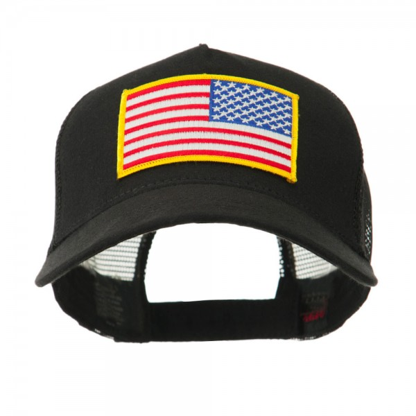 7b4748c5813af Embroidered Cap - USA Flag 5 Panel Mesh Flag Gold Patch Cap