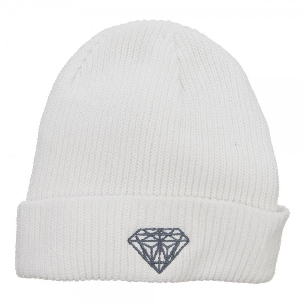 87379d121a2 Diamond Embroidered Eco Cotton Cuff Beanie - White