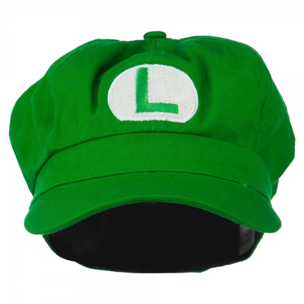 Circle Mario and Luigi Embroidered Cotton Green Newsboy Cap - Lime