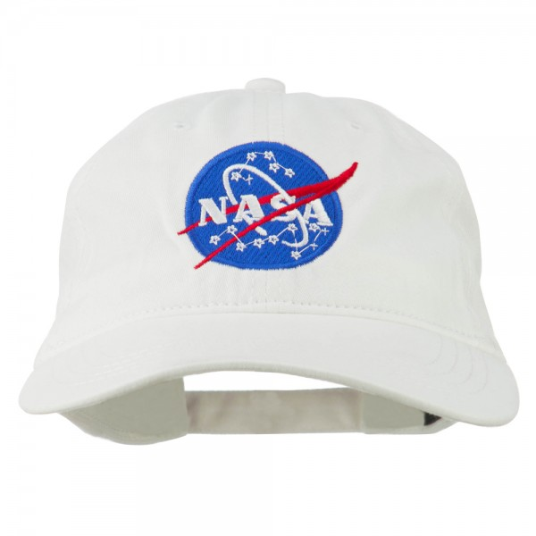 Embroidered Cap - White NASA Insignia Embroidered Dyed Cap  d4d69962a2e3