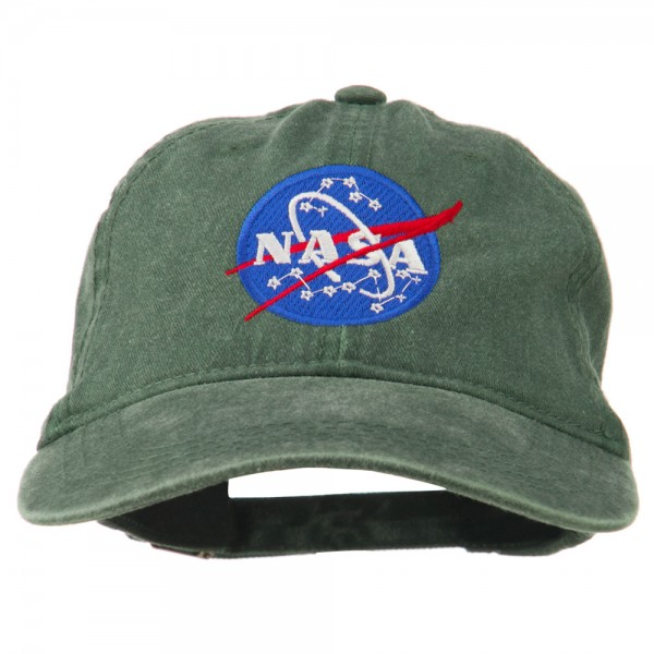e442dc6604d Embroidered Cap - Dark Green NASA Insignia Embroidered Dyed Cap ...