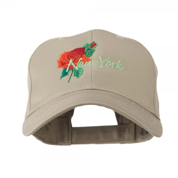 965e8b5b074  22.49 USA State Flower New York Rose Embroidery Cap - Khaki  22.49 ...