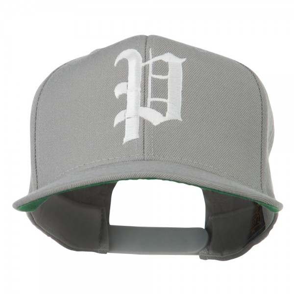 Embroidered Cap - Silver Old English P Flat Bill Cap  f7dd5c6393a2