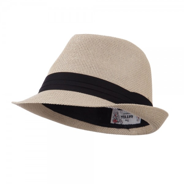 Pleated Hat Band Straw Fedora Hat - Tan fccf34d0d04