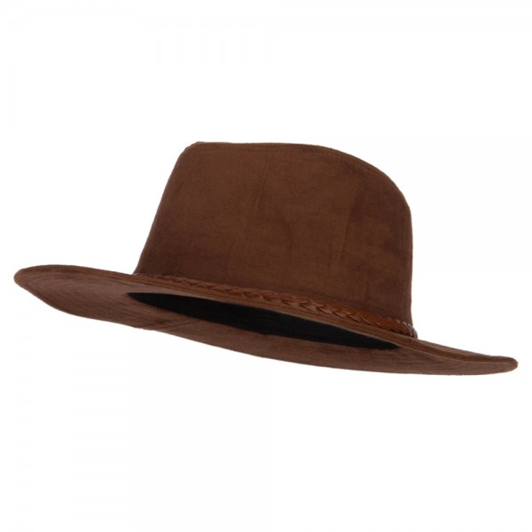 Panama Suede Hat with Braid Trim and Silver Beads - Brown 57041ee8003