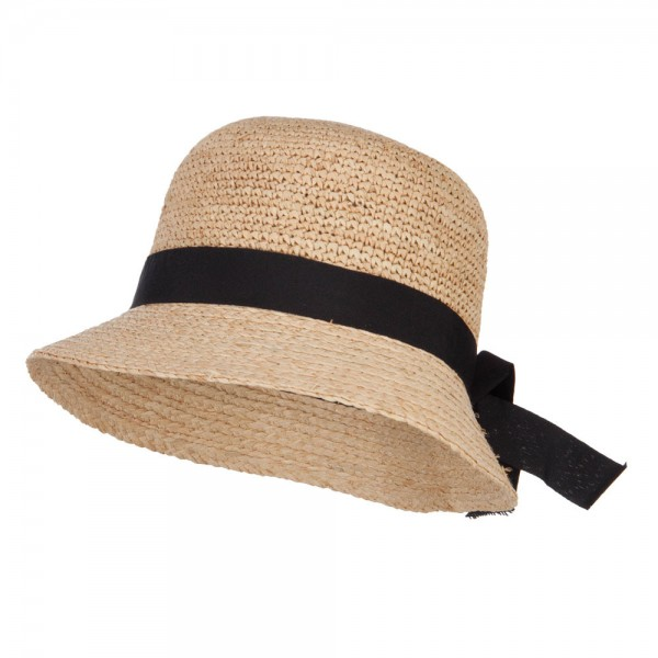 e8f63257905 Bucket - Natural Women s Band Raffia Cloche Hat
