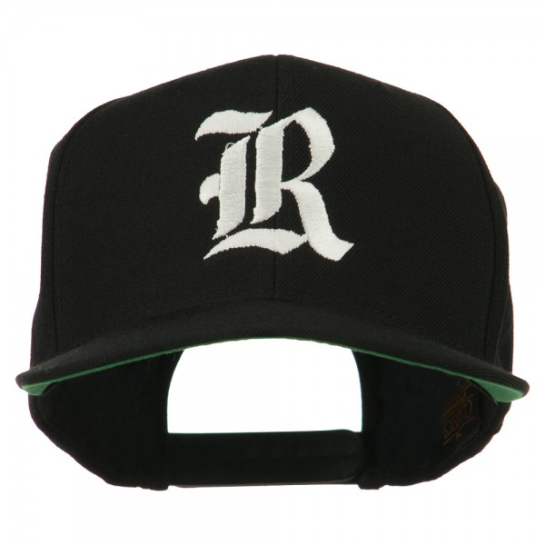 Embroidered Cap - Black Old English R Flat Bill Cap  899d6cff0bf2
